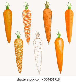 Set of carrots differently drawn. Collection of images of carrots. Vector illustration.