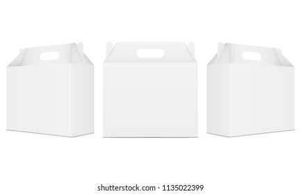 Set of carry boxes with handle isolated on white background. Vector illustration