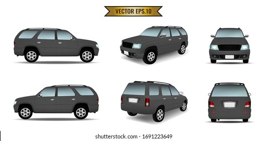 Set of cars in black color isolated on the background. Ready to apply to your design. Vector illustration.