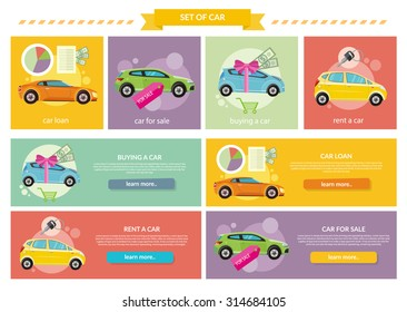 Set of cars concepts. Car loan approved document with dollars money. Buying car concept. Gift car and red ribbon with dollars money. Car sale. Rent a car concept in flat design