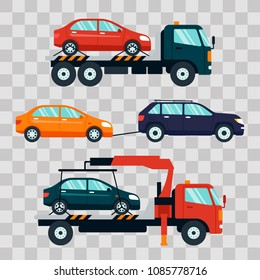 Set of cars evacuating broken or damaged auto on transparent background. Evacuator carrying car to the parking lot. Repair service vector illustration