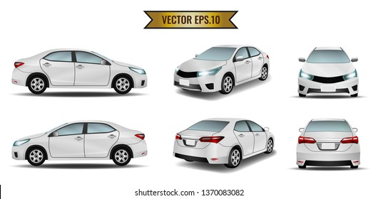 Set of cars isolated on the white background. Ready to apply to your design. Vector illustration.