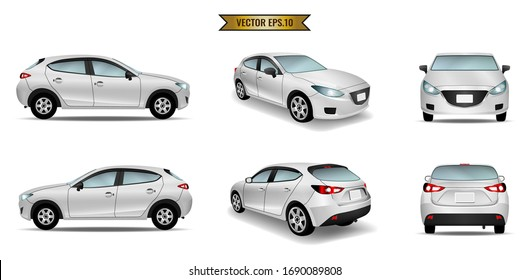 Set cars mockup realistic white isolated on the background. Ready to apply to your design. Vector illustration.