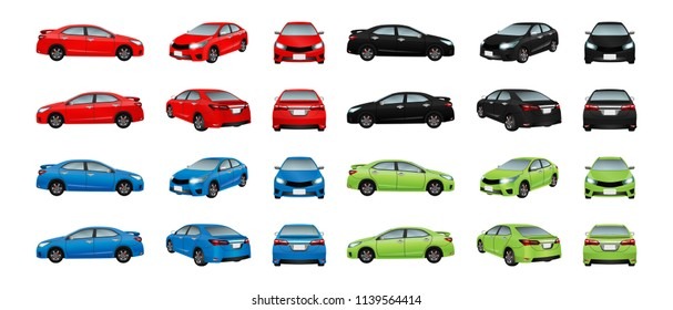 Set cars red black blue and green isolate on the background. Ready to apply to your design. Vector illustration.
