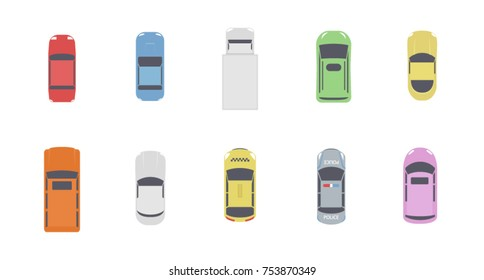 Set of cars top view. Different city vehicle transport views from the air or from the bird's eye. Isolated icons of auto cars from above. Simple flat cartoon vector illustration.
