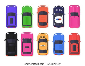 Set of cars and trucks top view in flat style. Vehicles driving in the city and service transport. Realistic car design isolated on white background. Vector illustration, eps 10.