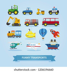 Set of cars, vehicles and other transportation. Vector illustration. Funny cartoon style for kids with cute face