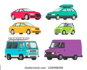 Set of cars. Vehicles, sports car, sedan, station wagon, electric car, minivan, truck. Auto collection on a white background. Vector illustration