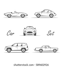 set of cars vintage style - black and white vector illustration