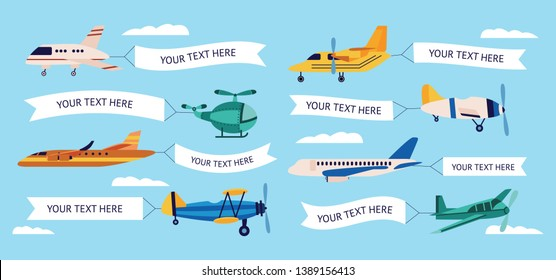 Set of cartoon airplanes with empty banners, different types of planes with text templates in white ribbons flying in the sky with clouds, paper message in flat vector illustration