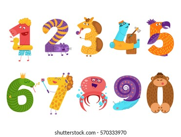 Set of cartoon animal numbers in flat style design. Collection of numerals for kids learning counting or mathematics. Wild monsters for children studying arithmetics.