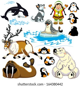 set with cartoon animals of arctic.Isolated pictures for little kids
