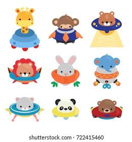 Set of Cartoon animals astronaut, giraffe, monkey, tiger, lion, rabbit, elephant, cat, panda, and bear in spaceships isolated on white background illustration vector.