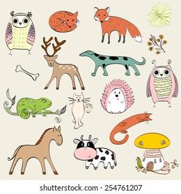 set of cartoon animals. Hand drawn illustration