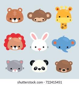 Set of Cartoon animals heads, tiger, monkey, giraffe, lion, rabbit, elephant, cat, panda, and bear on isolated background illustration vector.