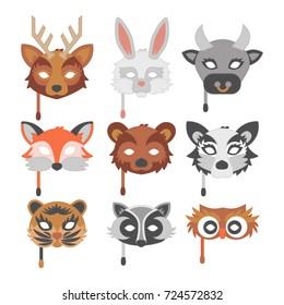 Set of cartoon animals party masks vector holiday illustration party fun masquerade festival decoration.