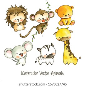 Set of Cartoon Animals in Water color Illustration