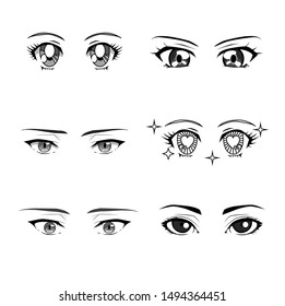 Set of cartoon anime eyes of male and female characters, japanese manga kawaii style. Vaporwave aesthetics vector illustration for fashion print, poster, cover ect.