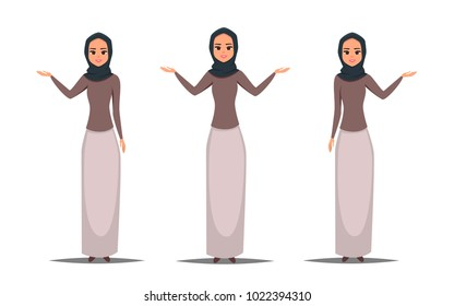 Set of Cartoon Arab woman character with hijab. Smiling girl in hijab presenting something with two hands. Young Moslem businesswoman wearing scarf. Vector illustration isolated from white