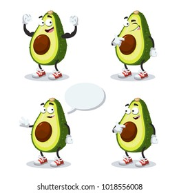 set of cartoon avocado mascot on white background