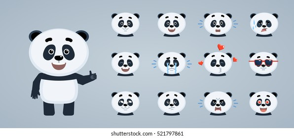 Set of cartoon baby panda emoticons. Baby panda avatars showing different facial expressions. Happy, sad, cry, laugh, tired, surprised, in love and other emotions. Simple vector illustration