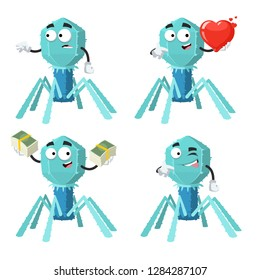 set of cartoon bacteriophage cell character mascot on white background
