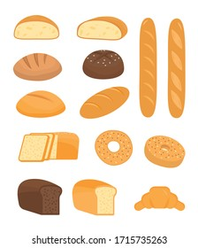 Set of cartoon baking pastry products for bakery menu, recipe book. French baguette, rye bread, whole wheat loaf, bagel, croissant, toast, sourdough, ciabatta, whole grain. Vector flat illustration.