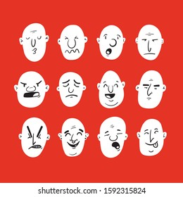Set of cartoon bald men with different facial expressions