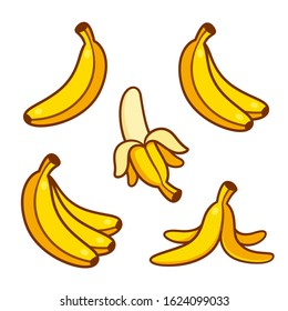 Set of cartoon banana drawings: single and bunch, peeled banana and empty peel on the ground. Vector clip art illustration collection.