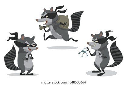 Set of cartoon bandit raccoon in robber masks. They look like they robbed a bank recently. vector illustration