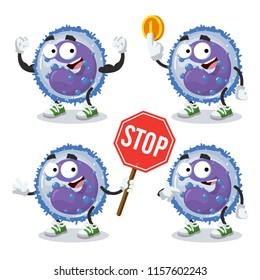 set of cartoon basophil cells character mascot on white background