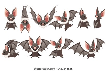 Set of Cartoon bat. Cute vampire bat, flying mammal. Flat vector illustration isolated on white background. Cartoon character design. Bat flapping wing, waving hand
