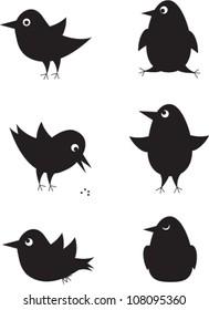 Set of cartoon birds icons for design. Vector