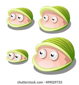 Set of cartoon bivalves shellfish with eyes isolated on white background. Vector illustration.