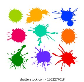 Set of Cartoon Blots and Splatters, Multicolored Blob Icons Isolated on White Background. Bright Paint Brush Yellow Red Blue and Green Colors. Colorful Design Elements, Splashes. Vector Illustration