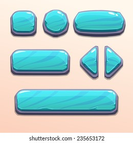 Set of cartoon blue stone buttons, bright vector ui elements
