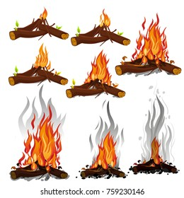 Set of cartoon Bonfires. illustration. Camping fire evolution on white background isolated vector