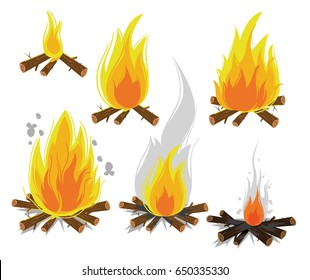 Set of cartoon Bonfires on white background isolated vector illustration. Camping fire evolution