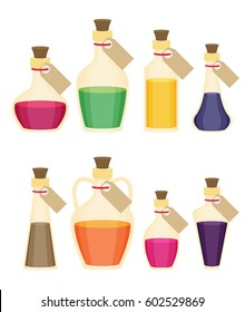 Set of cartoon bottles and potions. Flat vector.
