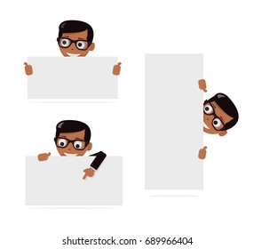 Set cartoon boy and blank paper for web site, user interface, mobile app. Peeking from top side of a white copy space.