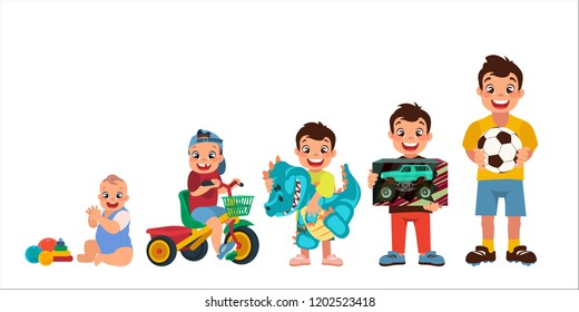 set of cartoon boys, age chart, 5 stages of development, vector illustration, big black eyes, black hair, Asian, Arab, Latino, Caucasian