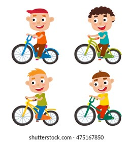 Set of cartoon boys riding a bike having fun riding bicycles isolated on white. Happy kid having fun on weekend. Vector character design on kids used for child books, stickers, posters, web pages.
