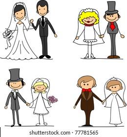 Set cartoon bride and groom