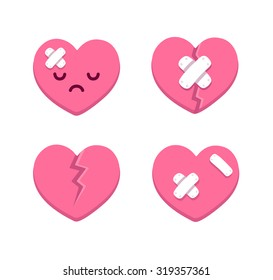 Set of cartoon broken hearts with cracks and bandages. Vector illustration.