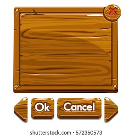 Set Cartoon brown wooden assets and buttons For Ui Game on white background