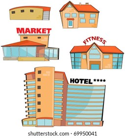 set of the cartoon buildings. Expansion of the series.