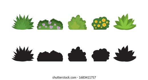 Set of cartoon bushes in flat style. Collection green plants and black silhouettes, isolated on white background. Elements of natural flora. Different type of shrubs with flowers. Vector illustration