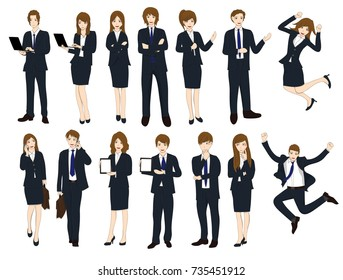Set Cartoon Business People isolated on White Background No.1. Vector Illustration.