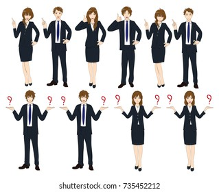 Set Cartoon Business People isolated on White Background No.4. Vector Illustration.
