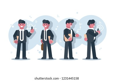 Set of cartoon businessman character design. Smiling man in suits standing on charts graphs background flat style vector illustration. Front back and side view